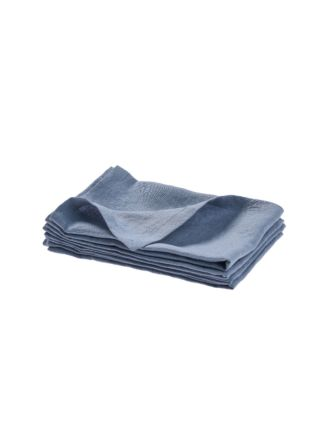 Nimes Blue Linen 4-Piece Napkin Set