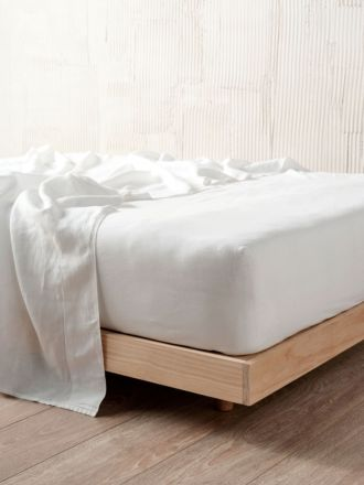 Nimes White Linen Fitted Sheet 50cm