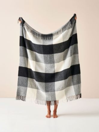 Wool Black Check Throw