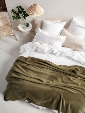 Wool Olive Blanket