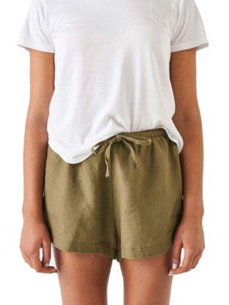 Nimes Olive Linen Shorts