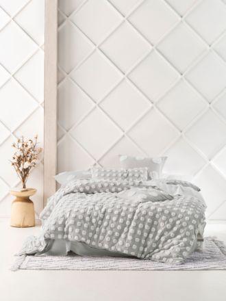 Haze Grey/White Quilt Cover Set