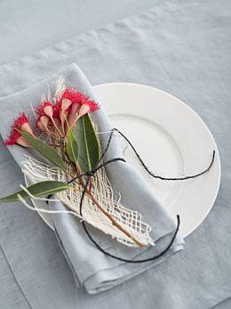 Nimes Blue Linen 4-Piece Napkin Set